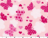 Butterfly Hearts FLANNEL Pink from EE Schenck Fabric