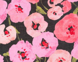 Lush BATISTE - Pink Poppies by Juliet Meeks from Cloud 9 Fabrics