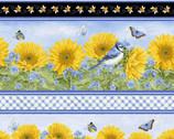 My Sunflower Garden - Stripe Sunflower Bird Butterfly by Jane Shasky from Henry Glass Fabric