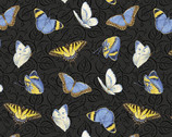 My Sunflower Garden - Tossed Butterflies Black Charcoal by Jane Shasky from Henry Glass Fabric