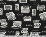 In The Press - Typewriter Phone Glasses Black from Robert Kaufman Fabric
