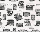 In The Press - Typewriter Phone Glasses White from Robert Kaufman Fabric
