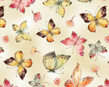 Floral Study - Butterflies Cream by Alice Collection from Timeless Treasures Fabrics