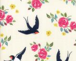 Rosa - Bird Floral Eggshell by Crystal Manning from Moda Fabrics