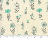 Le Pavot - Floral Natural Turquoise by Sandy Gervais from Moda Fabrics
