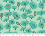 Le Pavot - Floral Poppy Rain Turquoise by Sandy Gervais from Moda Fabrics