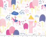 Once Upon A Time - Fairytale Meadow Castle White by Stacy Iest Hsu from Moda Fabrics