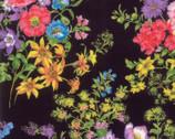Wildflower IX - Flower Bouquet Onyx Black from Moda Fabrics