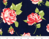 Smitten - Roses Rosy Navy Dark Blue by Bonnie and Camille from Moda Fabrics