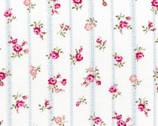 Flower Fields - Floral Stripe Rose Pink on White from Lecien Fabric