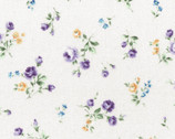 Flower Fields - Floral Rose Toss Purple from Lecien Fabric
