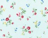 Flower Fields - Floral Rose Toss Aqua Blue from Lecien Fabric