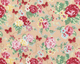 Woodland Rose - Rose Bouquet Butterfly Pink Peach by Jera Brandvig from Lecien Fabric