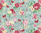 Woodland Rose - Rose Bouquet Butterfly Dusty Blue by Jera Brandvig from Lecien Fabric