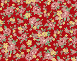 Retro 30's Child - Floral Pink on Red from Lecien Fabric