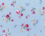 Flower Fields - Floral Rose Toss Blue from Lecien Fabric