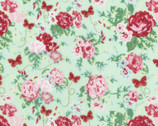 Woodland Rose - Rose Bouquet Butterfly Green by Jera Brandvig from Lecien Fabric