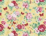 Woodland Rose - Rose Bouquet Butterfly Yellow by Jera Brandvig from Lecien Fabric