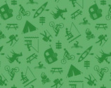 Happy Campers - Camp Activities Green from Henry Glass Fabric