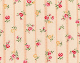 Flower Fields - Floral Stripe Rose Peach Pink from Lecien Fabric