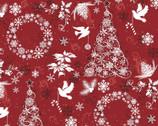 Seasonal Basics - Christmas Joy Tree Wreath Doves Red from Springs Creative Fabric