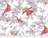 Forest Frost Glitter Favorites - Birds Berries Snow White from Moda Fabrics