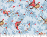 Forest Frost Glitter Favorites - Birds Berries Light Blue from Moda Fabrics