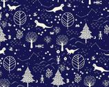 Otter Romp - Otter Scenic Navy Blue from Paintbrush Studio Fabrics