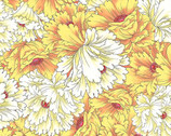 Dianthus - Packed Flowers Yellow from Paintbrush Studio Fabrics