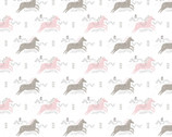 Pretty Little Woods - Jumping Horses White from Camelot Fabrics