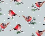 Winter Woods - Birds Aqua by Sara Berrenson from Camelot Fabrics