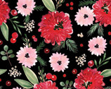 Winter Woods - Floral Black by Sara Berrenson from Camelot Fabrics