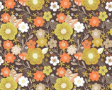 Flower Market - Floral Brown Orange Yellow from Camelot Fabrics