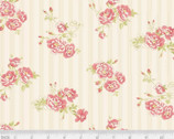 Amelie - Flower Pin Stripe Pink from P & B Textiles Fabric
