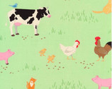 What Do The Animals Say - Farm Animals Green by Katherine Lenius from Robert Kaufman Fabric