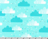 Cuddly Kittens FLANNEL 2 - Clouds Aqua by Wendy Kendall from Robert Kaufman Fabric