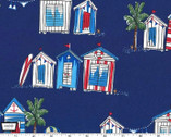 Just Shellin' - Seas the Day Little Sheds Royal Blue from Michael Miller Fabric