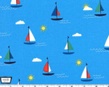 Goat Island - Sunset Cruise Sailboats Water Blue from Michael Miller Fabric