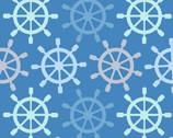 Blizzard FLEECE - Ship Wheels Blue from David Textiles Fabric