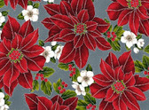 Poinsettia Song - Poinsettia Red on Gray from Hoffman Fabrics