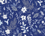 Blue Holiday - Floral Leaf Berry Blue from Paintbrush Studio Fabric
