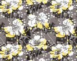 Black White and Citrus - Large Modern Floral by Color Principle from Henry Glass Fabric