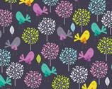 Tweety Pie - Birds Trees Charcoal by Kanvas from Benartex Fabric