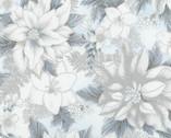 Holiday Flourish 11 Metallic - Poinsettias Floral Blue from Robert Kaufman Fabric