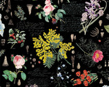 No Weeds Here - Floral Black from Hoffman Fabrics