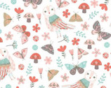 Forest Owl - Owls Butterfly Mushroom White Toss from Clothworks Fabric