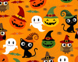 Halloween - Adorable Spooks Orange from David Textiles Fabric
