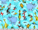Celebrate Seuss - Characters Aqua by Dr. Seuss from Robert Kaufman Fabric