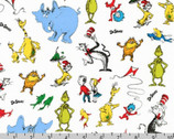 Celebrate Seuss - Characters White by Dr. Seuss from Robert Kaufman Fabric
