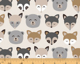 Cubby Bear FLANNEL - Forest Animals Tan by Whistler Studios from Windham Fabrics